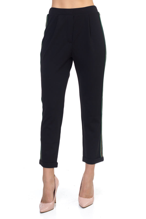 Side Eye Side Stripe Pants-Black