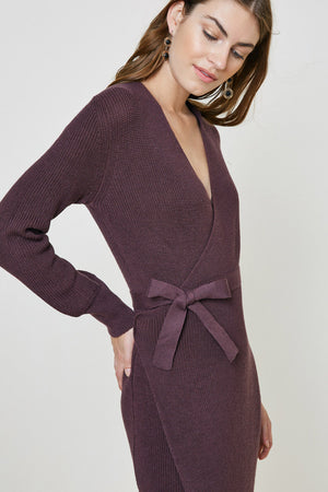 Natasha Wrap Dress - Burgundy