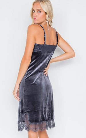 Feelin Soft n Sexy Stone Grey Velvet Gown
