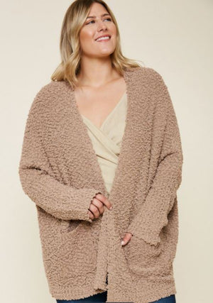 Easy To Love Textured Cardigan - Mocha