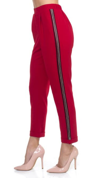 Side Eye Side Stripe Pants-Red