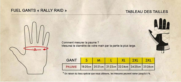 Guide tailles des gants Rally Raid Fuel Motorcycles.