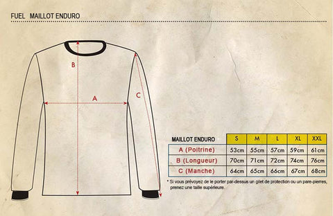 Guide des tailles maillot Enduro Fuel Motorcycles.