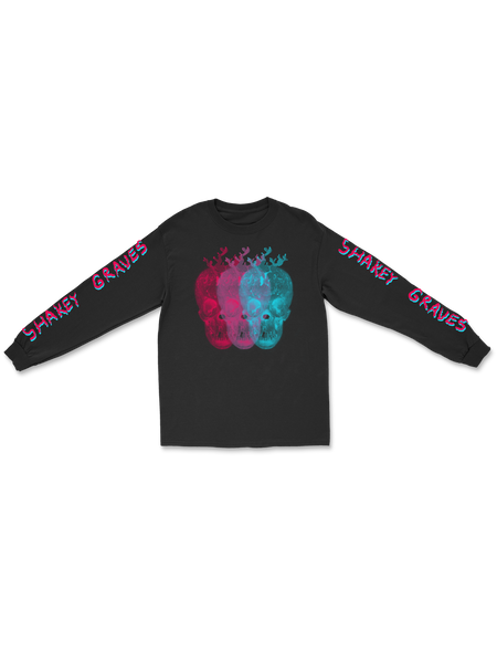 Shakey Graves Triple Skull Long Sleeve T - Black