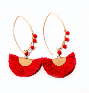 BEADED HALF MOON- Red