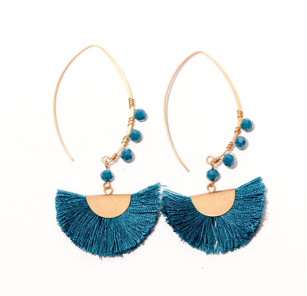 BEADED HALF MOON- Teal