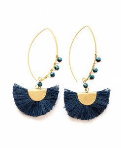 BEADED HALF MOON- Navy