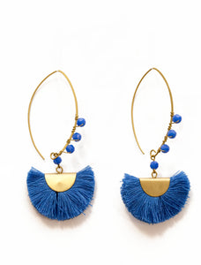 BEADED HALF MOON- Royal blue