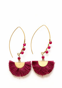 BEADED HALF MOON- Burgundy