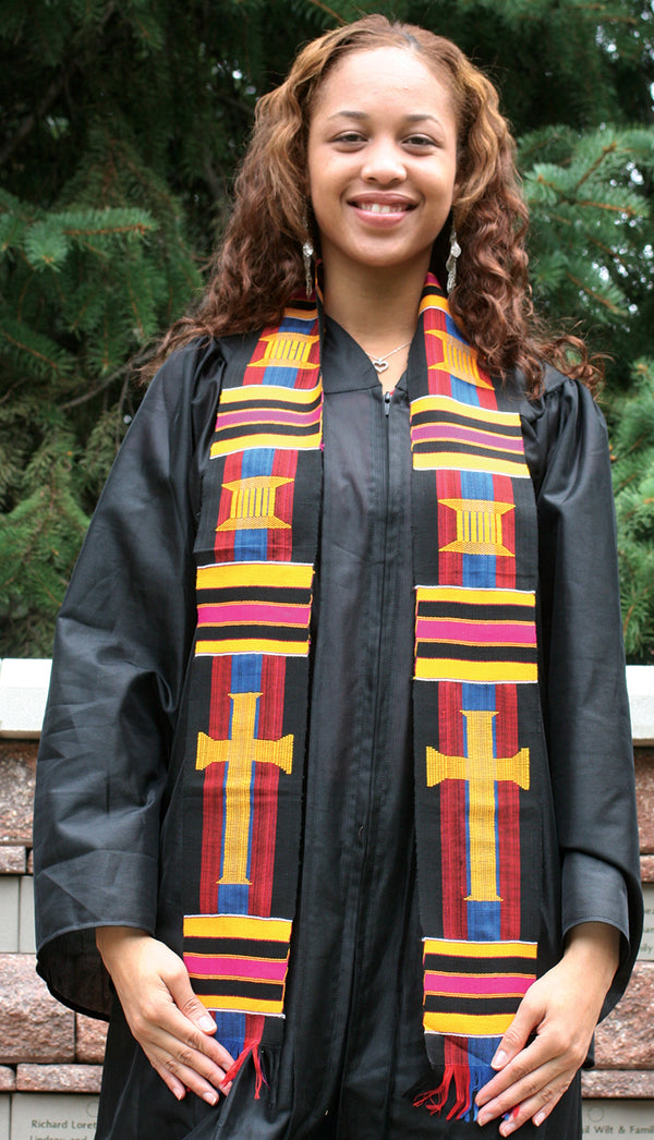 D15-RELIGIOUS CROSS KENTE STOLE