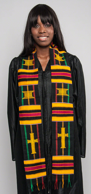 D27-RELIGIOUS CROSS KENTE STOLE