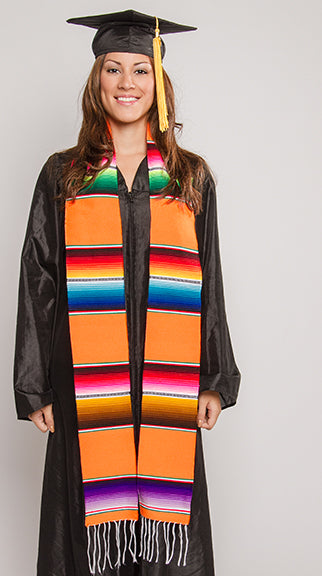 SR6-Orange Mexican Serape Stole