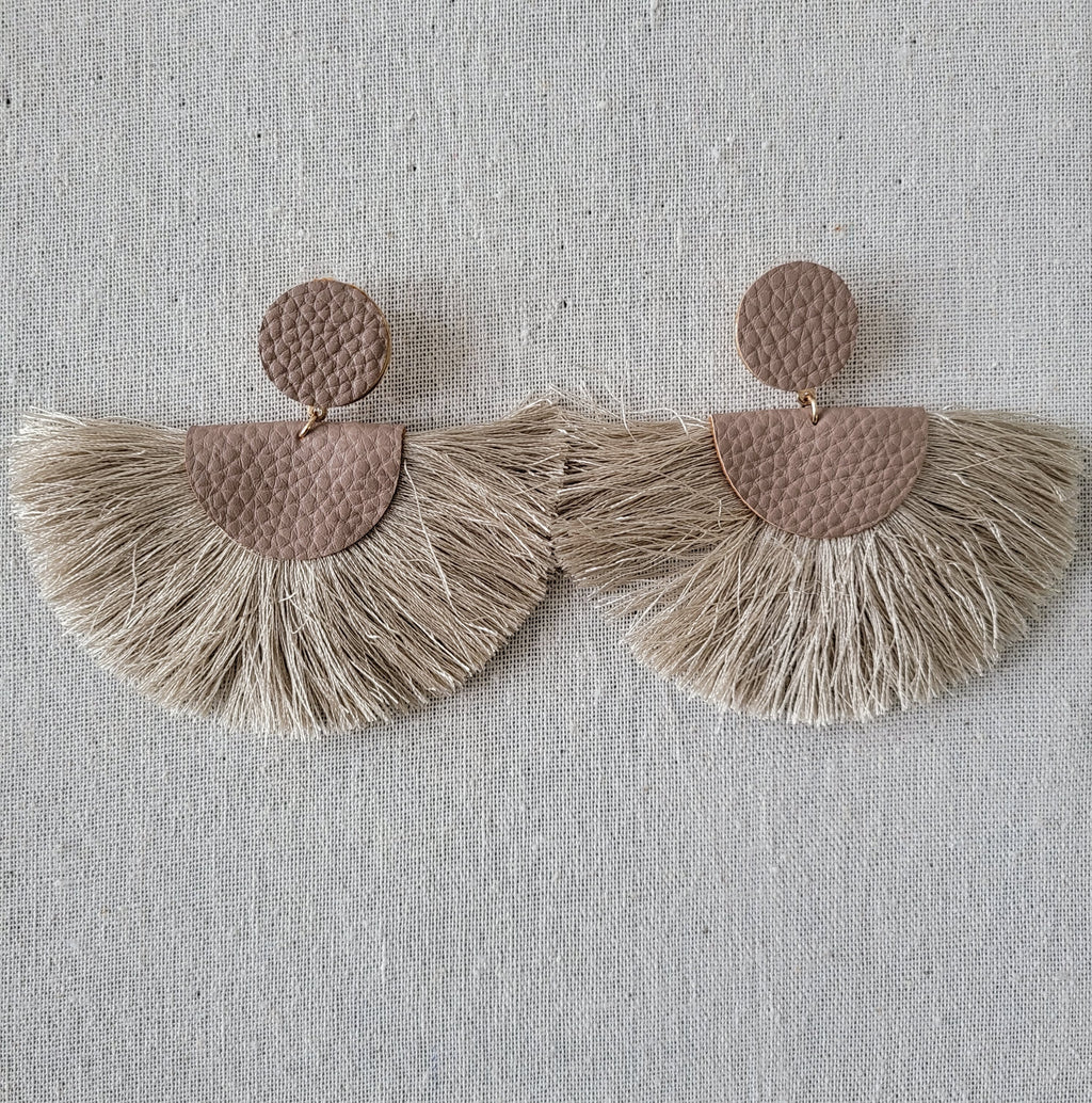 Tassel Earrings with Leather