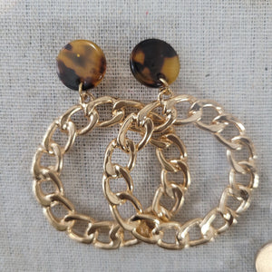 Gold and Leopard Print Earrings