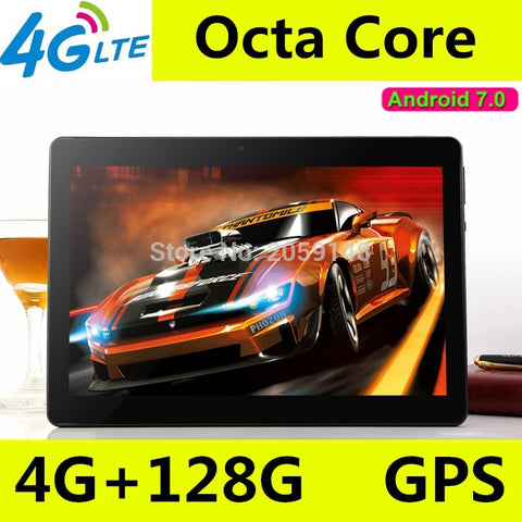 2018 New 10.1 inch  3G 4G LTE  Phone Call Android 7.0 Octa Core IPS pc Tablet WiFi 4G+128G 7 8 9 10 android tablet pc 4GB 128GB