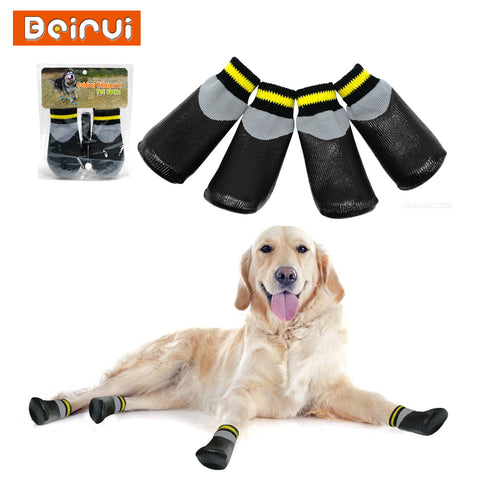 Outdoor Waterproof Dog Socks Rain Wear Non-Slip Anti Skid Cotton Elastic Shoes with Fixed Belt for All Breeds Chihuahua Poodle