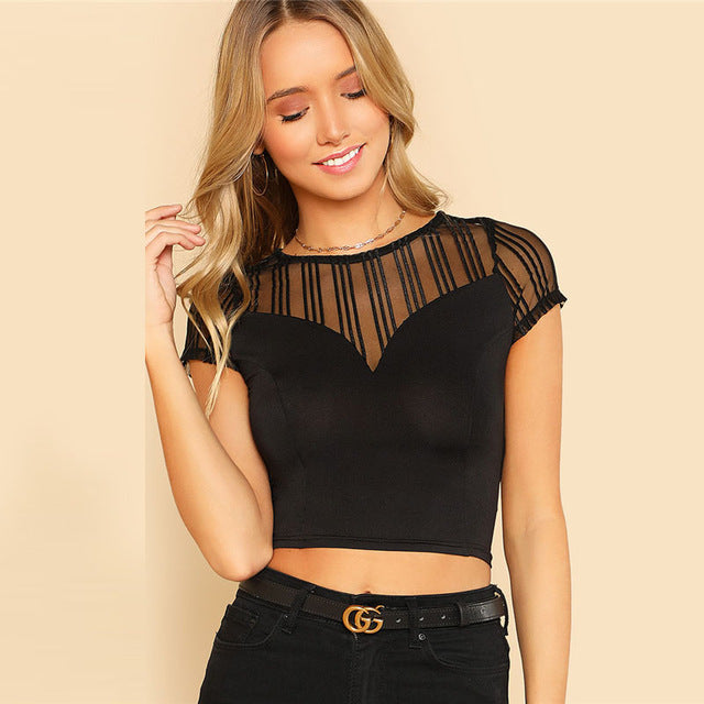 Mesh Sweetheart Crop Tee