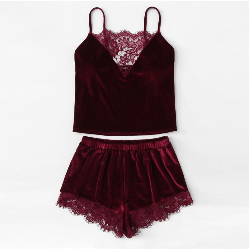 Lace Trim Velvet Cami & Shorts Pajamas Set