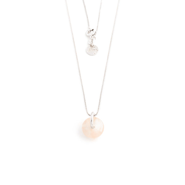 JANUARY ROSE QUARTZ NECKLACE SILVER