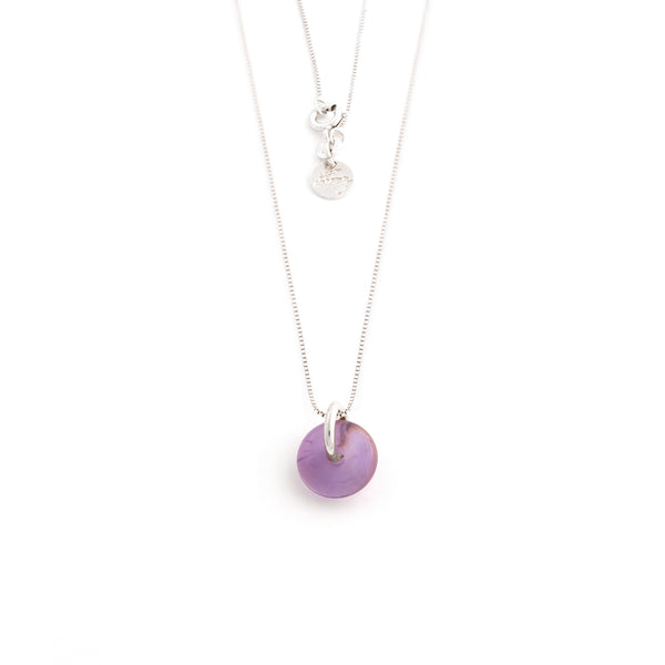 FEBRUARY AMETHYST NECKLACE SILVER
