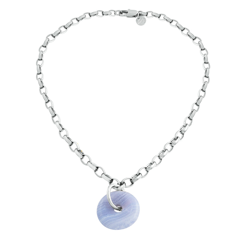 BIG LOVE CHALCEDONY COLLIER SILVER