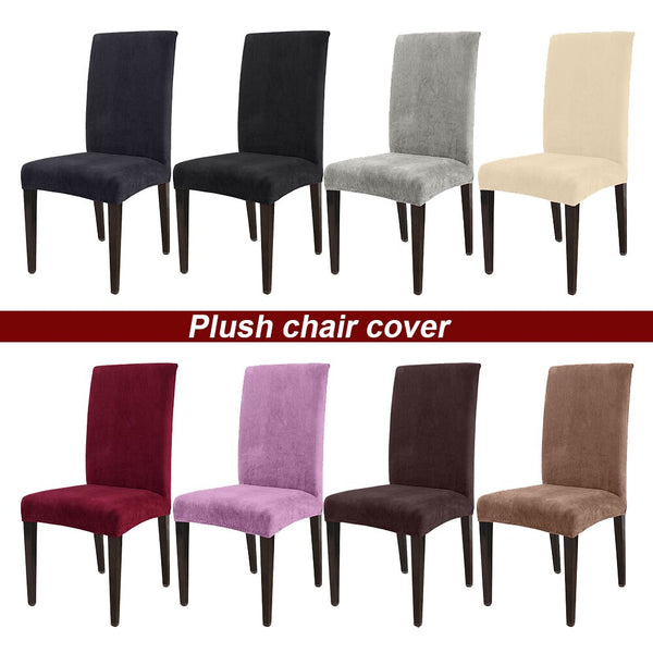 Removable Thick Plush Chair Cover Stretch Elastic Slipcovers Restaurant For Weddings Banquet Folding Hotel Chair Covering