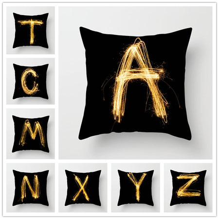 Taies d'oreiller Alphabet Black