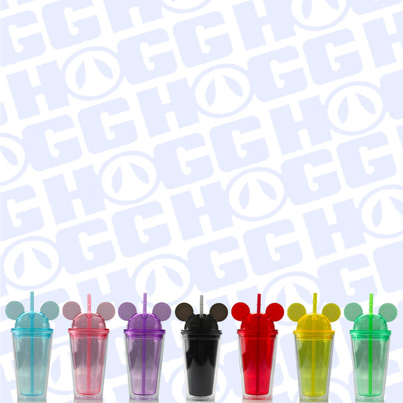 16oz ALL EARS ACRYLIC TUMBLER W/ STRAW