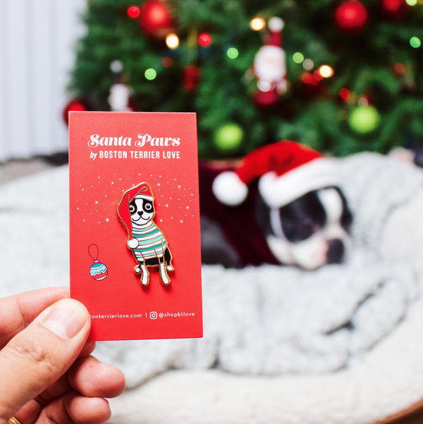 SANTA PAWS - BLACK BOSTON TERRIER CHRISTMAS ENAMEL PIN
