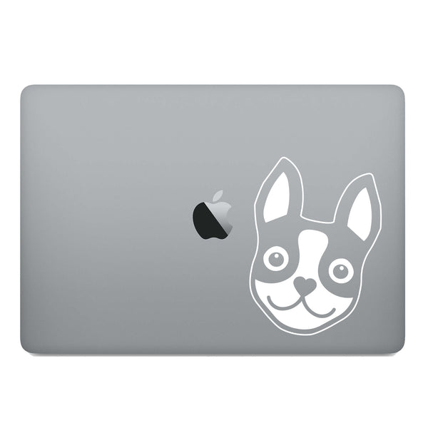 BOSTON TERRIER ICON DECAL - WHITE - 5""