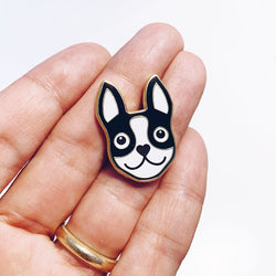 BLACK & GOLD BOSTON TERRIER ENAMEL PIN