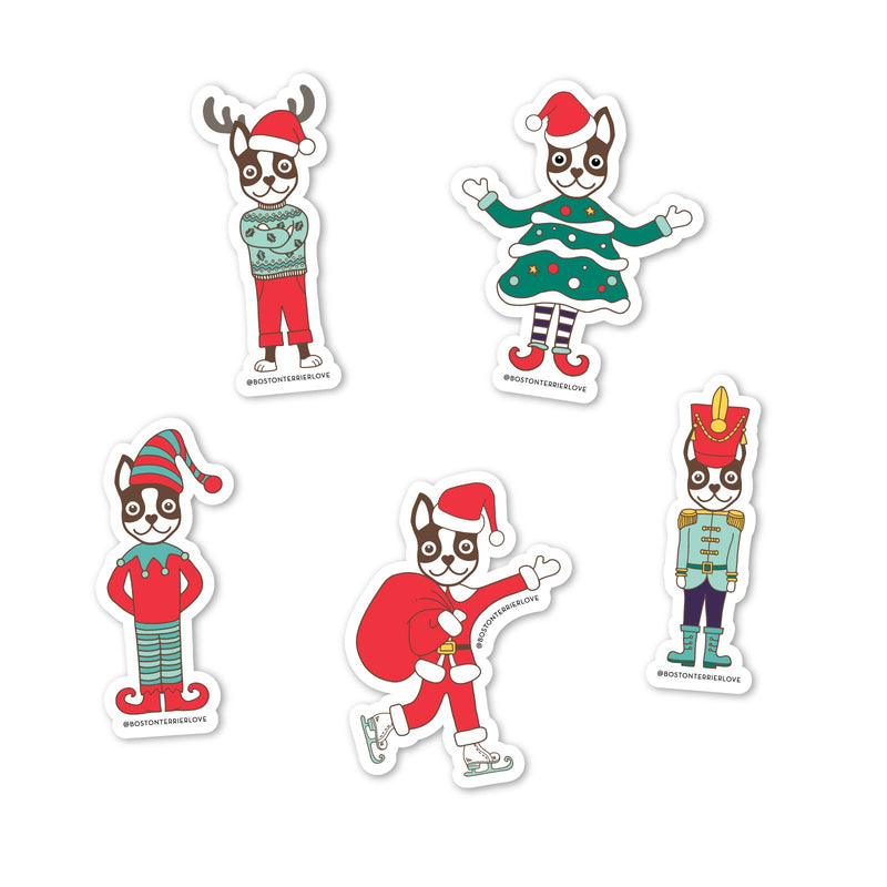 Boston Terrier Love | Holiday Sticker Pack (Pack of 5)