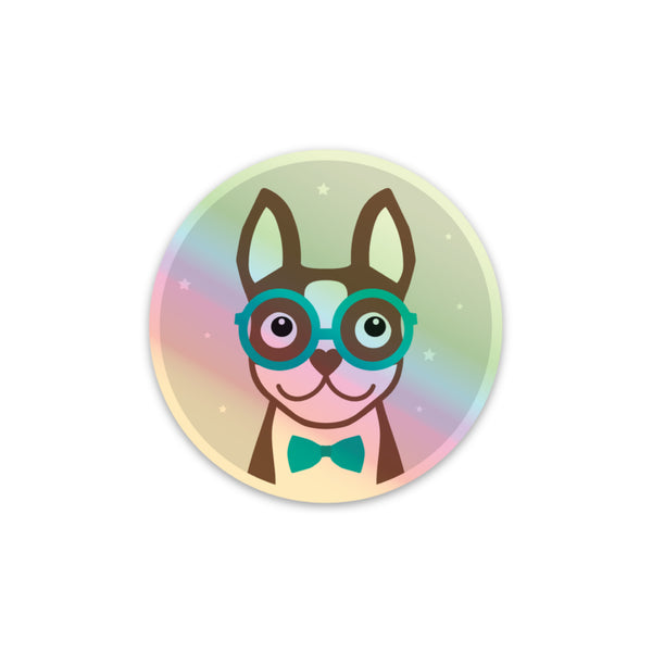 Boston Terrier Holographic Sticker - Brown