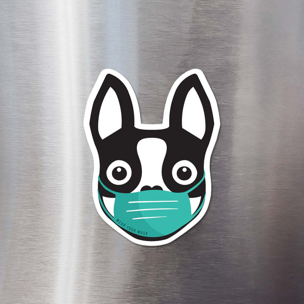 BOSTON TERRIER WEARING MASK FLEXIBLE MAGNET - BLACK - 3""