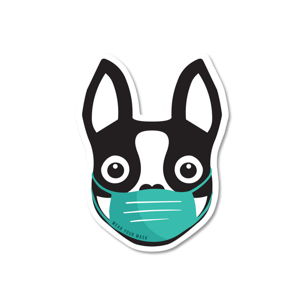 Boston Terrier wearing Mask Sticker - Black - 3""
