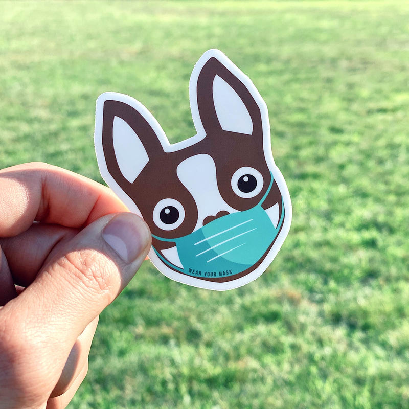 Boston Terrier wearing Mask Sticker - Brown - 3""