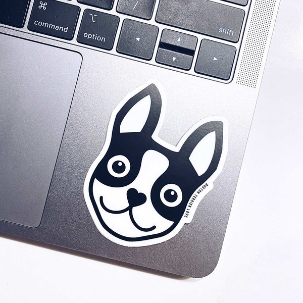 Boston Terrier Icon Sticker - Black - 3""