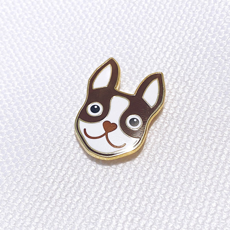 RED BROWN & GOLD BOSTON TERRIER ENAMEL PIN