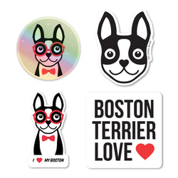 BOSTON TERRIER STICKER PACK - BLACK