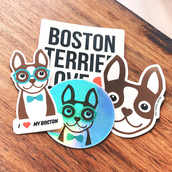 BOSTON TERRIER STICKER PACK - BROWN