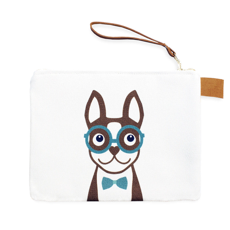 Boston Terrier Carry-All Pouch - Brown