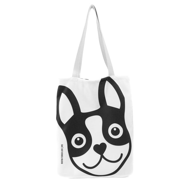 Boston Terrier Icon Basic Tote Bag - Black Boston Terrier Love