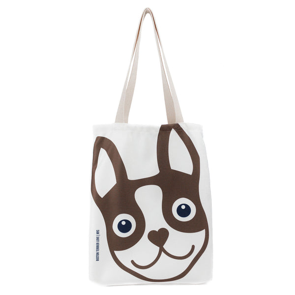 Boston Terrier Icon Basic Tote Bag - Brown Boston Terrier Love