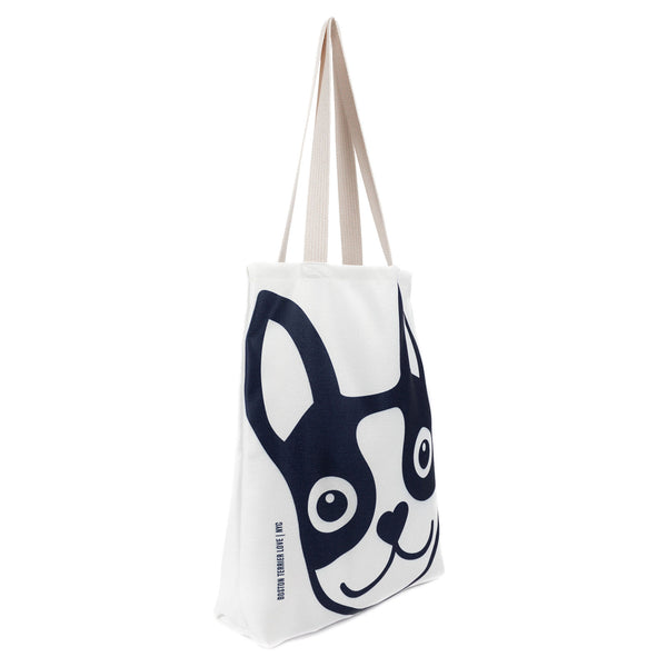 Boston Terrier Icon Basic Tote Bag - Navy Boston Terrier Love