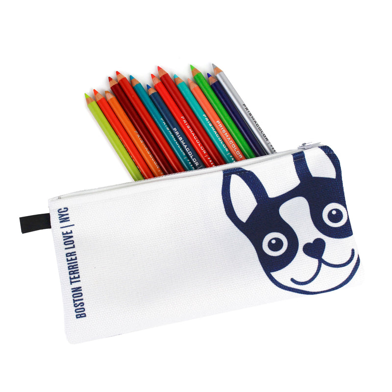 Boston Terrier Pencil Case - Navy