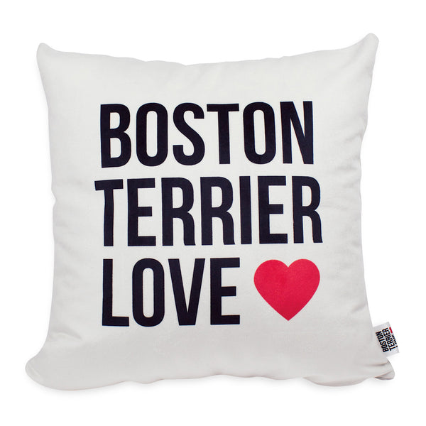 Boston Terrier Love Throw Pillow Cover