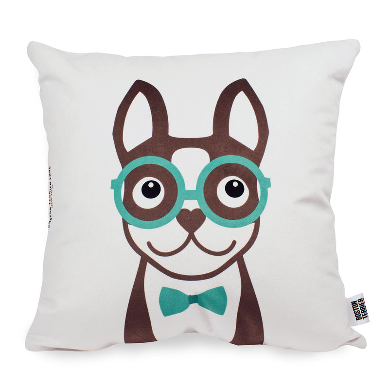 Boston Terrier Throw Pillow Cover - Brown