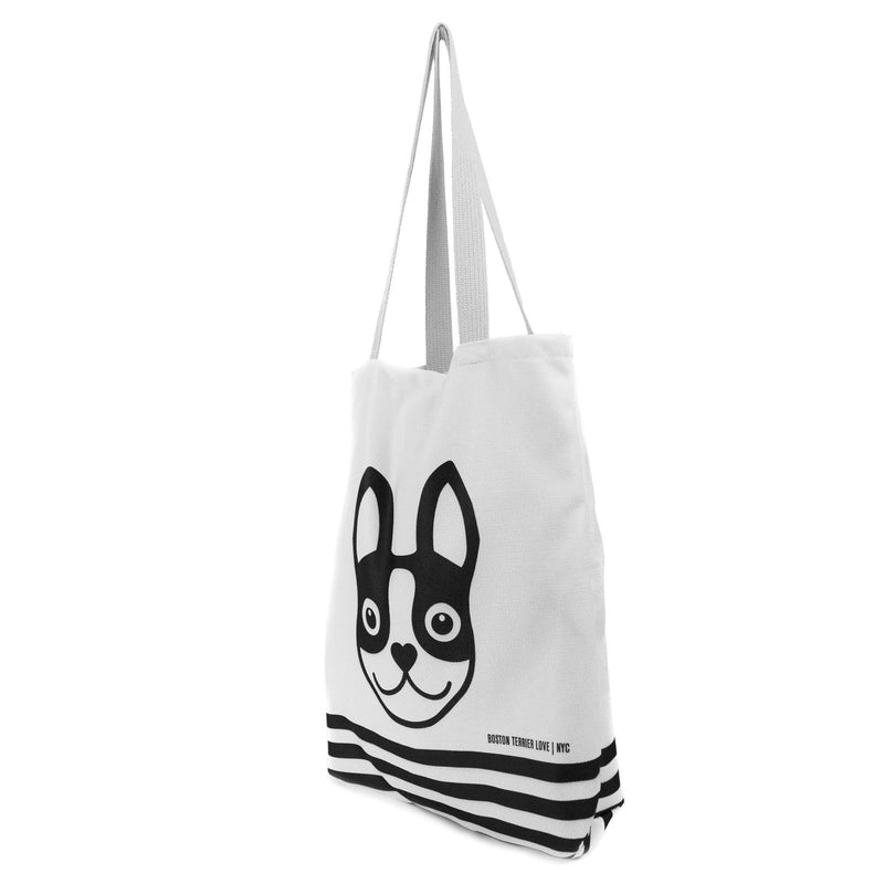 Boston Terrier Striped Basic Tote Bag - Black