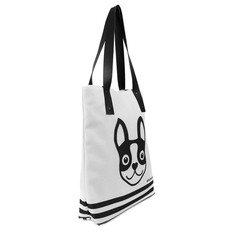 Boston Terrier Striped Urban Tote Bag - Black