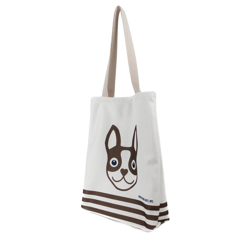 Boston Terrier Striped Basic Tote Bag - Brown Boston Terrier Love